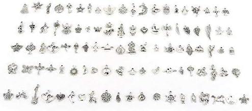 50x Plata Tibetana en ambos lados pequeña pluma Colgante encantos perlas Accesorios n47p