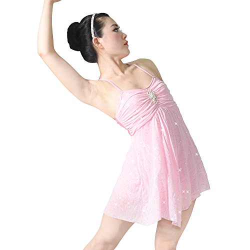 MiDee Dance Costume Lyrical Dress Full Sequins Camisole Dance Dresses (LC, Pink)