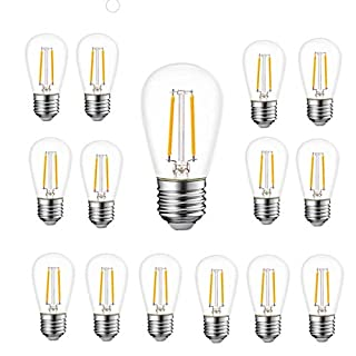 WinsaLED 15 Pack Shatterproof S14 Bulb 2W LED Filament Plastic for Outdoor Patio String Light Bulb Replacement, 2700K Warm White, E26 Medium Base
