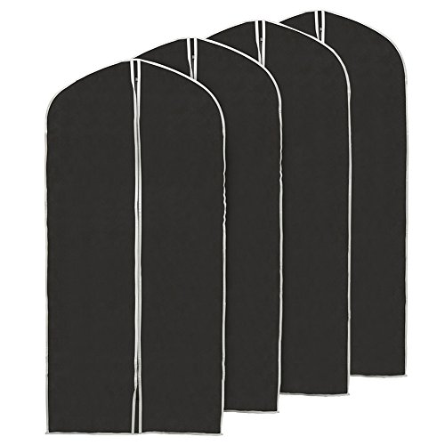 EZOWare (Set of 4 60 inch Garment Bag, Black Foldable Breathable Garment Suit Dress Jacket Coat Shirt Dust Cover Travel Bag