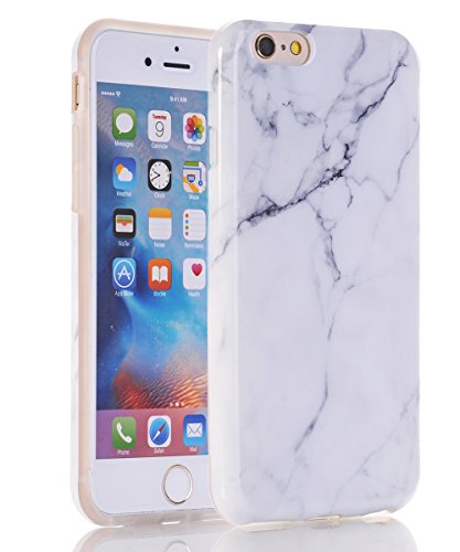 iPhone 6s Case,iPhone 6 Case,Spevert White Marble Design Glossy TPU Soft Rubber Clear Bumper Shockproof Slim Silicone Case Cover for Apple iPhone 6S / iPhone 6 4.7 inches