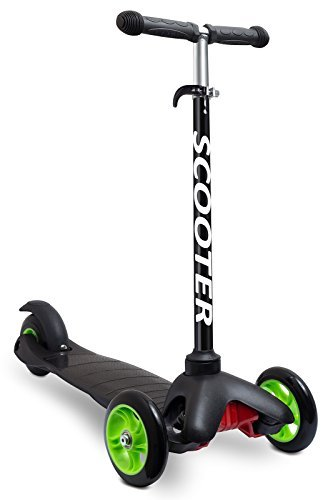 OxGord Scooter for Kids - Deluxe Aluminum 3 Wheel Glider with Kick n Go, Lean 2 Turn, Step 4 Break - Black