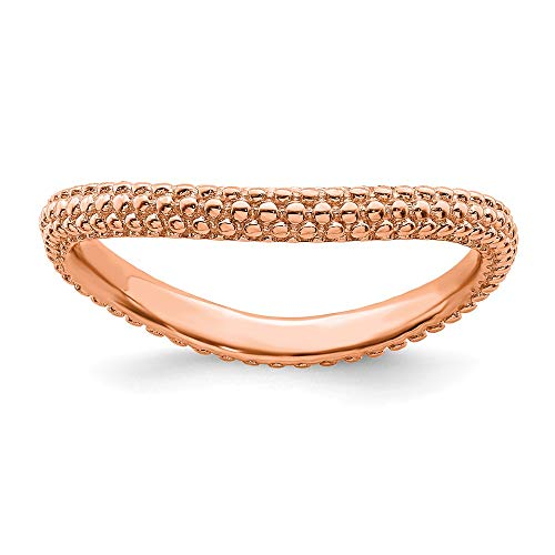 925 Sterling Silver Pink Plated Wave Band Ring Size 8.00 Stackable Curved Fine Jewelry Gifts For Women For Her from ICE CARATS