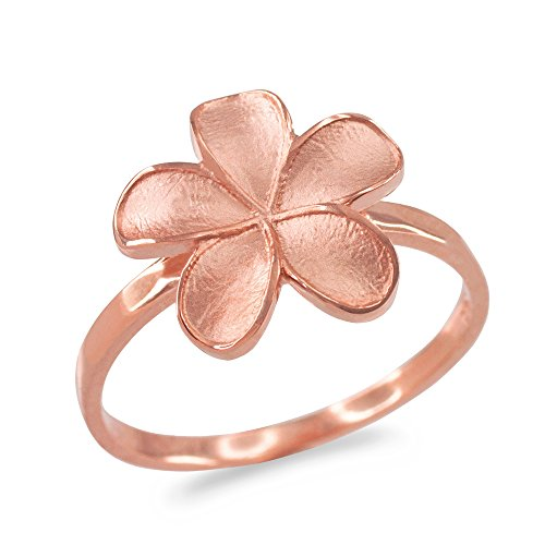 - Hawaiian Plumeria Flower Ring in Matte Finish 14k Rose Gold (Size 8)