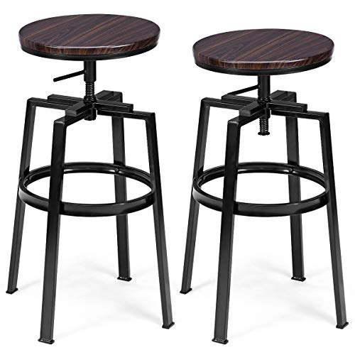 COSTWAY Counter Height Bar Stools, Set of 2, Swivel Adjustable, Round Top Pub Bistro Kitchen Dining Side Chair Mental Barstools with Footrest (Round Barstools)