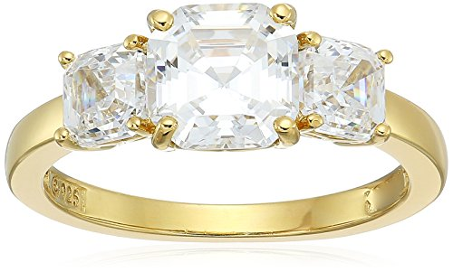 (Yellow-Gold-Plated Sterling Silver Asscher-Cut 3-Stone Ring made with Swarovski Zirconia (3 cttw), Size)