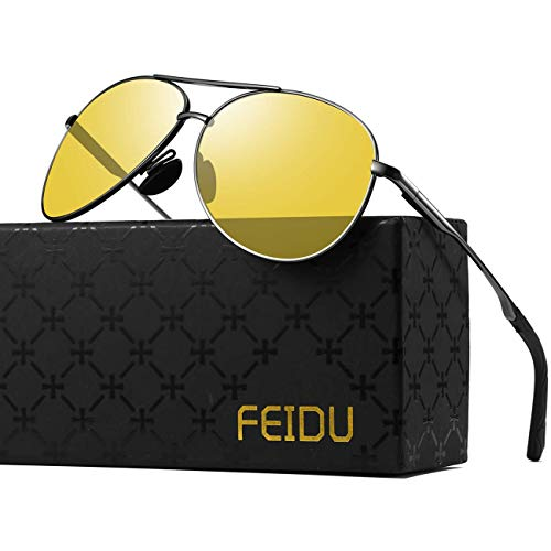 Night Driving Glasses Mens Glasses - FEIDU Night Vision Glasses for Driving FD9002 ()