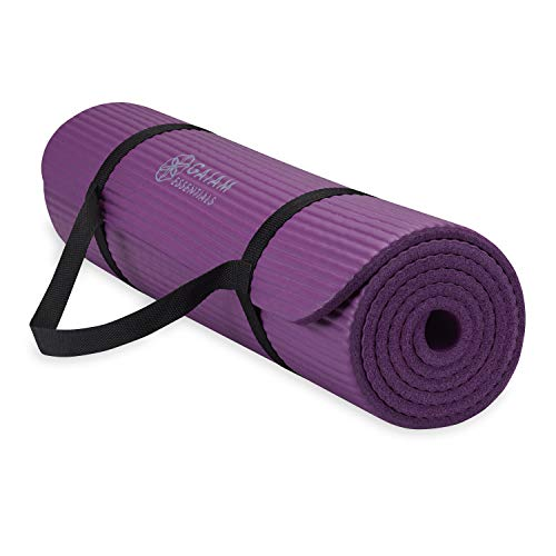 "Gaiam Essentials Thick Yoga Mat Fitness & Exercise Mat with Easy-Cinch Yoga Mat Carrier Strap, Purple, 72""L x 24""W x 2/5 Inch Thick"