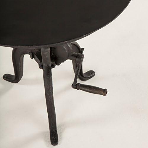 World Interiors Reclaimed Metal Small Adjustable Crank Side Table