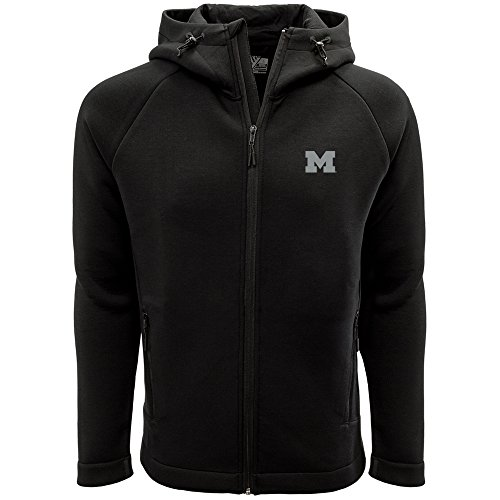 Levelwear LEY9R NCAA Michigan Wolverines Adult Men Titan Insignia Strong Style Full Zip Hooded Jacket, Large, Black
