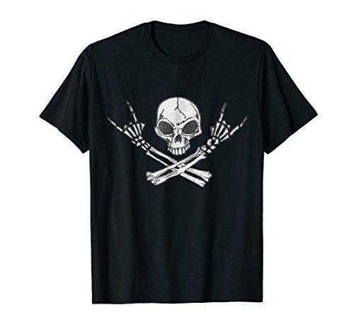 Rock n Roll Shirt Halloween Skeleton Rocker Graphic Tshirt ()