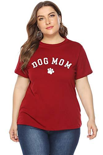 Gloria&Sarah Women's Plus Size T-Shirt Short Sleeve Dog Mom Letter Print Summer Tee Shirt ()