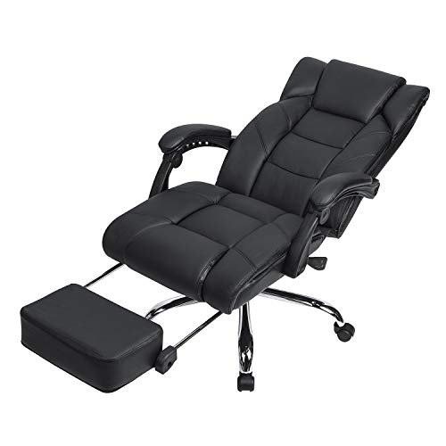 LCH High Back Leather Office Chair – Adjustable Tilt Angle and Flip-up Arms Executive Computer Desk Chair, Thick Padding for Comfort and Ergonomic Design for Lumbar Support, Black