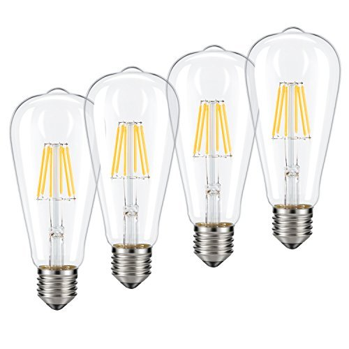 Dimmable Edison LED Bulb, Kohree 6W Vintage LED Filament Light Bulb, 2700K Soft White, 60W Incandescent Equivalent, E26 Medium Base Lamp for Restaurant,Home,Reading Room,Office, Pack of 4