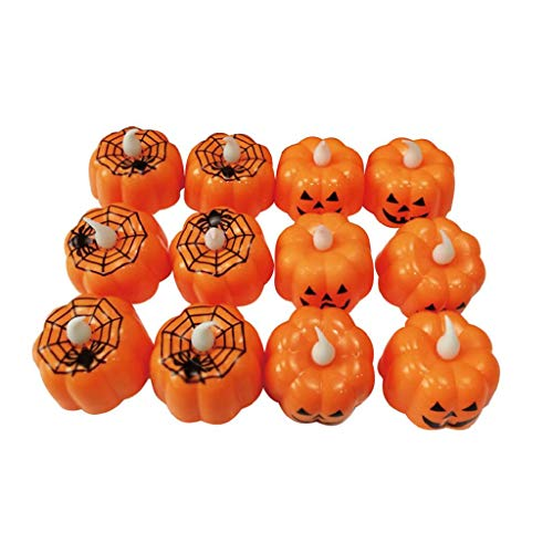 Islandse12 pcs Halloween Candle with LED Tea Light Candles for Halloween Decoration Party Gold ()