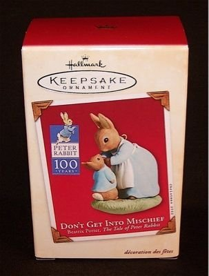 Beatrix Potter Peter Rabbit 100 Years Dont Get Into Mischeif Ornament Dated 2002 by Hallmark