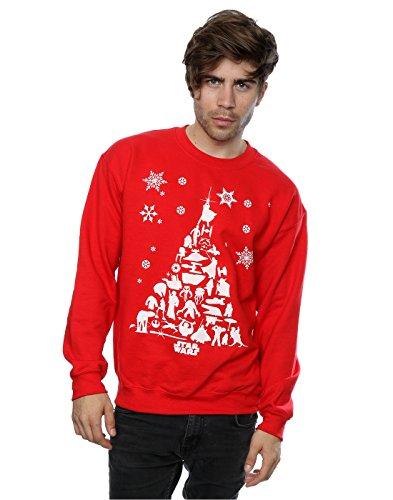 Wars Sweat Rouge Homme Star Christmas Raqxwf Shirt Tree qRqpwU