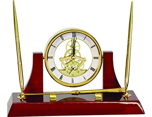 Gatsbe Exchange Executive Gold/Rosewood Piano Finish Clock w/2 Pens/Letter Opener and Time Piece