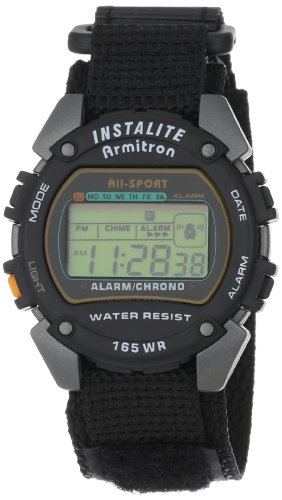 Armitron Sport Men's 406623 Chronograph Round Gray and Black Nylon Strap Digital Watch