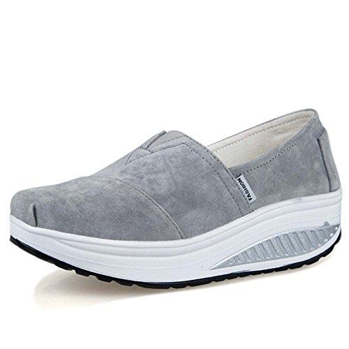 Solshine Women's Suede Solid Slip On Loafers Wedge Running Shoes Platform Grey WbTzNiig