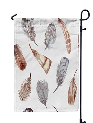 Shorping Welcome Garden Flag, 12x18Inch Pattern Watercolor Feathers for Holiday and Seasonal Double-Sided Printing Yards Flags]()