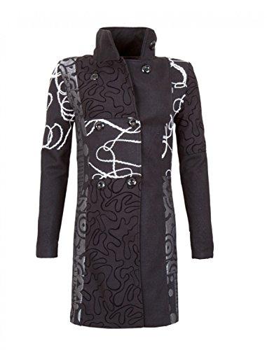 Diseñador Patchwork Mujeres de lana capa del invierno en 12 diferentes diseños Trench Coat Schwarz