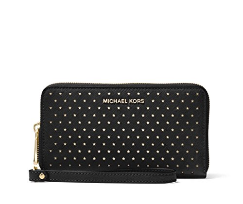 Michael Kors Jet Set Perforated Leather Smartphone Wristlet in Black by Michael Kors