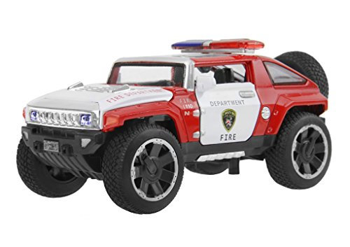 Sound Police Car (Kids Die-cast Metal Playset Toy Vehicle Models, Cool HX Concept Fire Rescue Police Car Truck with Light & Sound 1:32 Scaled, Best Christmas Birthday Gift Toys for Children Kids Toddlers Boys)