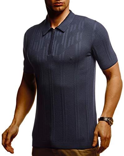 Leif Nelson Herren Poloshirts Sommer T-Shirt Polo Shirts Slim Fit aus Feinstrick Cooles weißes schwarzes Basic Männer Polo-Shirts Jungen Kurzarmshirt Kurzarm Sleeve Shirt Top LN7375