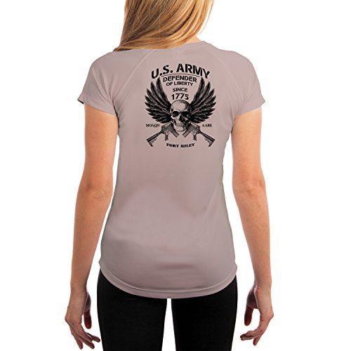 Fort Riley Army Base (Dead Or Alive Clothing U.S. Army Fort Riley Women's UPF 50+ Short Sleeve T-Shirt Medium Athletic Grey)