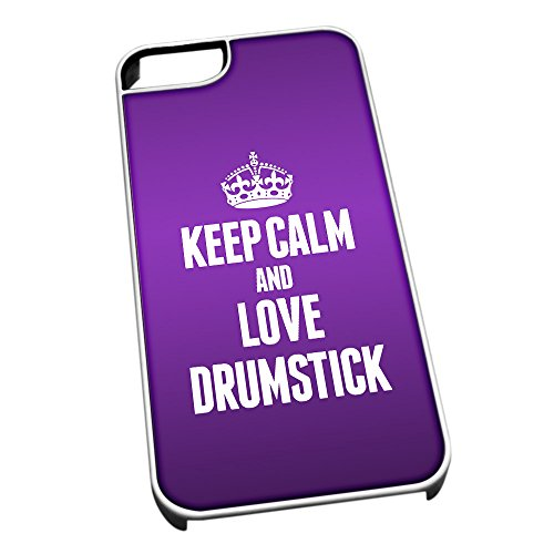 Bianco Cover per iPhone 5/5S 1052Viola Keep Calm And Love bacchette