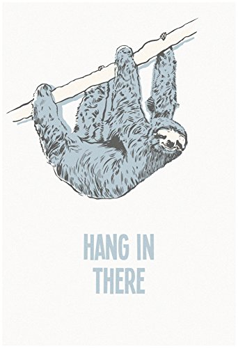 Hang In There- Vertical Sloth Poster 13 X 19In -