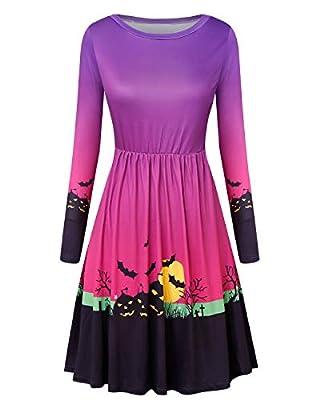 GIKING Women Casual V Neck 3/4 Sleeve Floral Print Maxi Long Dress Belts