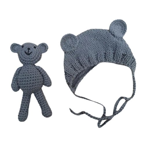Newborn Baby Bear Hats Crochet Knit Beanie with Bear Dolls Photography Accessories (Gray)