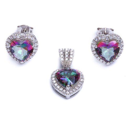 .925 Sterling Silver 5.50ct Rainbow Colored CZ & Cz Heart Earring & Pendant Jewelry (Silver Colored Heart)