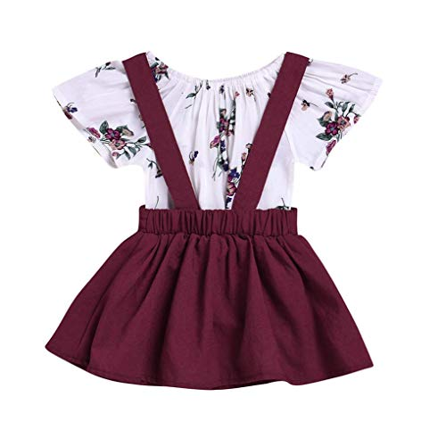Amberetech Baby Girl Suspender Skirt Outfit Short Sleeve Floral Romper Pinafore Dress Two-Piece Suits (Style 1(Pack of 2) - Wine red, for 12-18 Months) - Newborn Two Piece Outfit