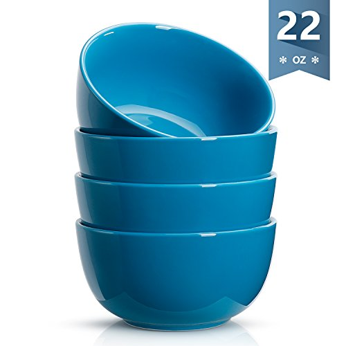 Sweese 1135 Porcelain Bowls - 22 Ounce for Cereal, Soup, Rice, Salad - Set of 4, Steel blue by Sweese