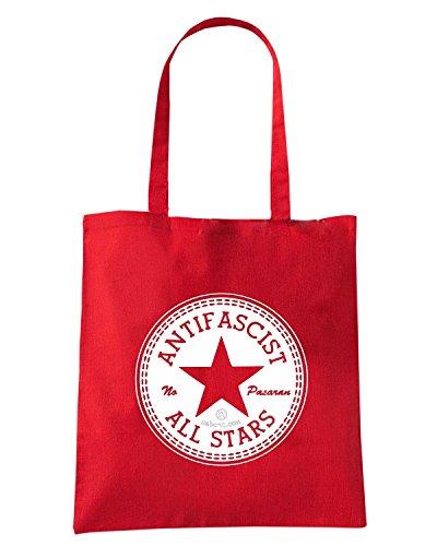 T-Shirtshock - Bolsa para la compra TCO0023 allstars antifascist Rojo