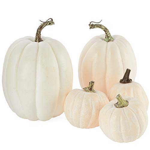 Factory Direct Craft 5 Assorted Size Harvest Off White Artificial Pumpkins