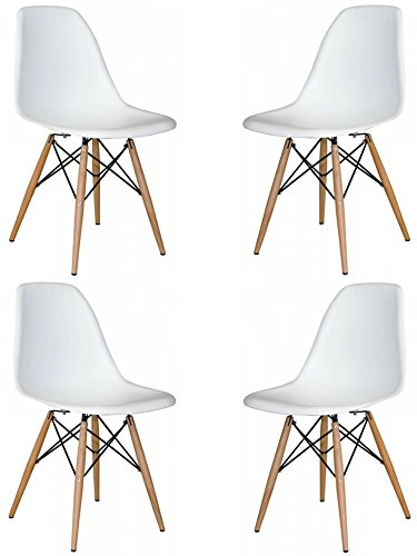 Mid Century Modern Eames Style Chairs 4 Pack (White) - Modern Traditional Chair