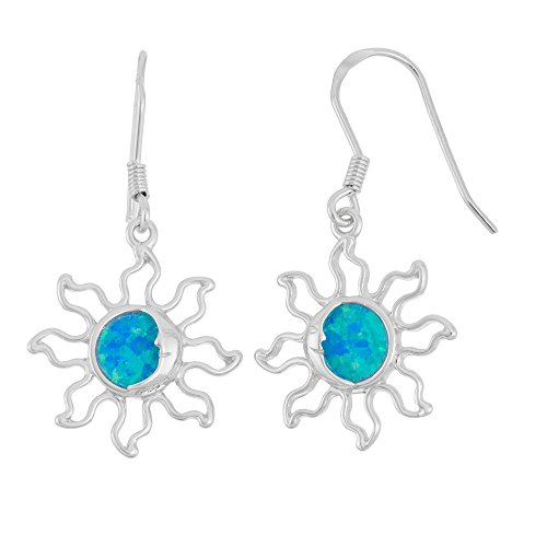 Sterling Silver Created Blue Opal Solar Eclipse Sun Dangle Earrings