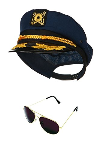 [Yacht Skipper Boat Captain Hat Sailor Ship Cap Navy Blue Gold Aviator Sunglasses] (Ship Captain Costumes)