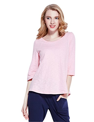 Linjama Women's Concise Knit Cotton Loungewear Pajamas Se...