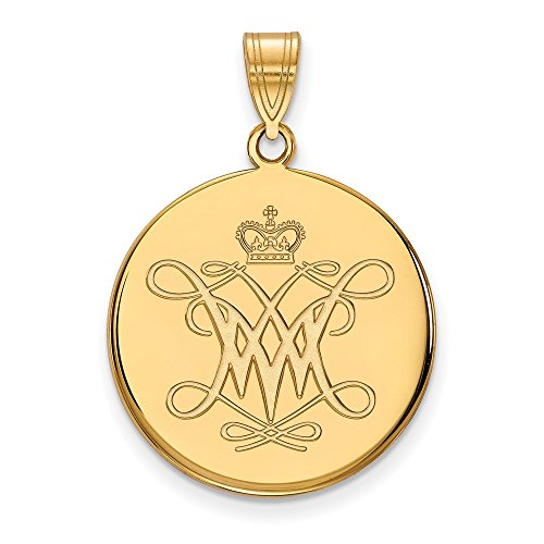 Roy Rose Jewelry 10K Yellow Gold LogoArt College of William And Mary Large Disc Pendant College Seal Jewelry Pendant