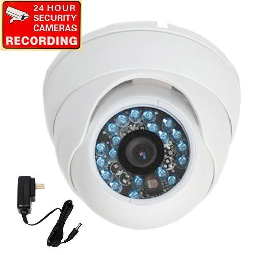 "VideoSecu Dome Built-in 1/3"" SONY CCD Security Camera 600TVL Outdoor Day Night Vision Vandal Proof IR Infrared 3.6mm Wide Angle Lens for Home CCTV DVR Surveillance System with Power Supply ME4"