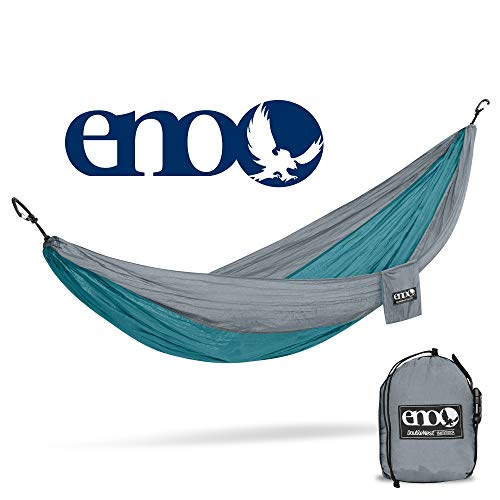 ENO - Eagles Nest Outfitters DoubleNest Lightweight Camping Hammock, 1 to 2 Person, Seafoam/Grey