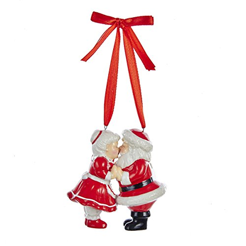 - Kurt Adler Porcelain Kissing Santa And Mrs. Claus Christmas Ornament