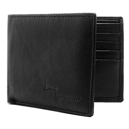 Genuine Leather Wallet Mens Bifold 12 Card Slots With Removable Passcase RFID Blocking (Wallet Leather Black)