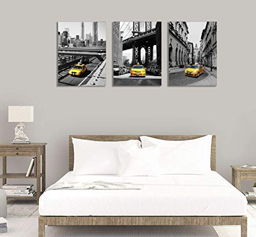 Yellow Taxi Wall Art Black White New York City Canvas Prints Gray Urban Bridge Building Painting for Living Room Decoration Downtown Cab Picture in 3 Pieces Framed Manhattan Landmark Artwork 12×16Inch