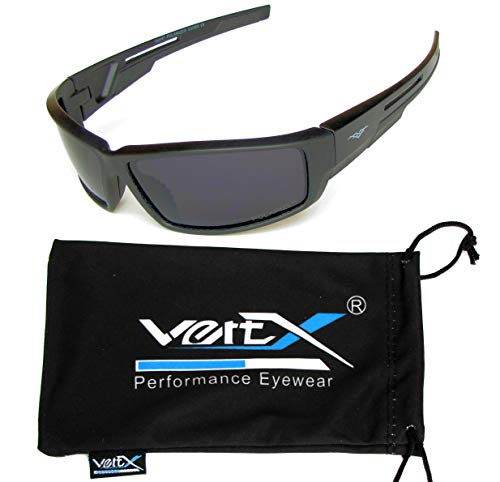 VertX Men's Polarized Sunglasses Sport Cycling Outdoor w/Free Microfiber Pouch - Black Frame - Smoke ()